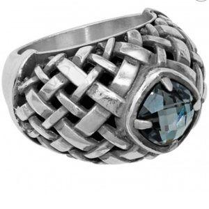 Brighton weave & stone ring statement piece size 7